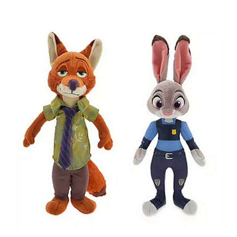 2016 New Movie 30cm Zootopia rabbit Judy Hopps Nick Wilde police women cute Plush soft doll For Kids Toys New Year Gift 2016 zootopia figures keychain ring toys doll set 2016 new cartoon animal abbit judy hopps nick fox