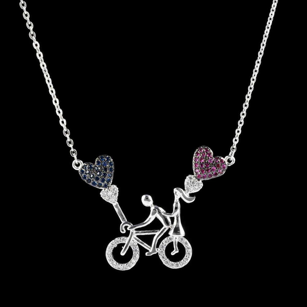 Romantic and sweet heart lovers small bicycle color zircon pendant, for the female/girl cast wedding jewelry.D-011