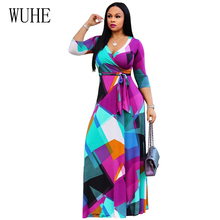 WUHE Boho Geometric Print Maxi Dress Summer Sexy V Neck 3/4 Sleeve Loose Vintage Long Women Elegant Party Dresses Vestidos