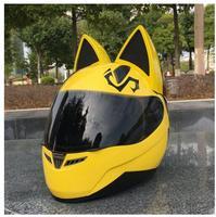 2019 for NITRINOS Motorcycle helmet four seasons hard hat male ladies motorcycle racing car cat ear helmet