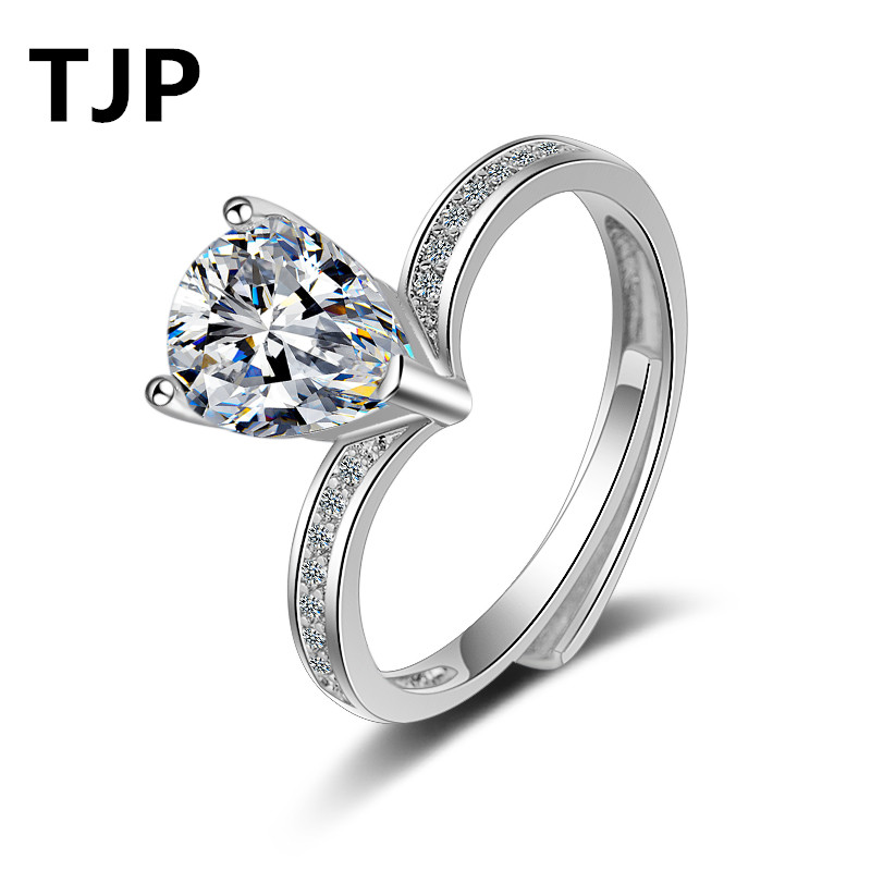 TJP 2018 Summer Latest Lady Finger Jewelry Clear Crystal Women Accessory 925 Sterling Silver Rings For Girl Engagemwent Party