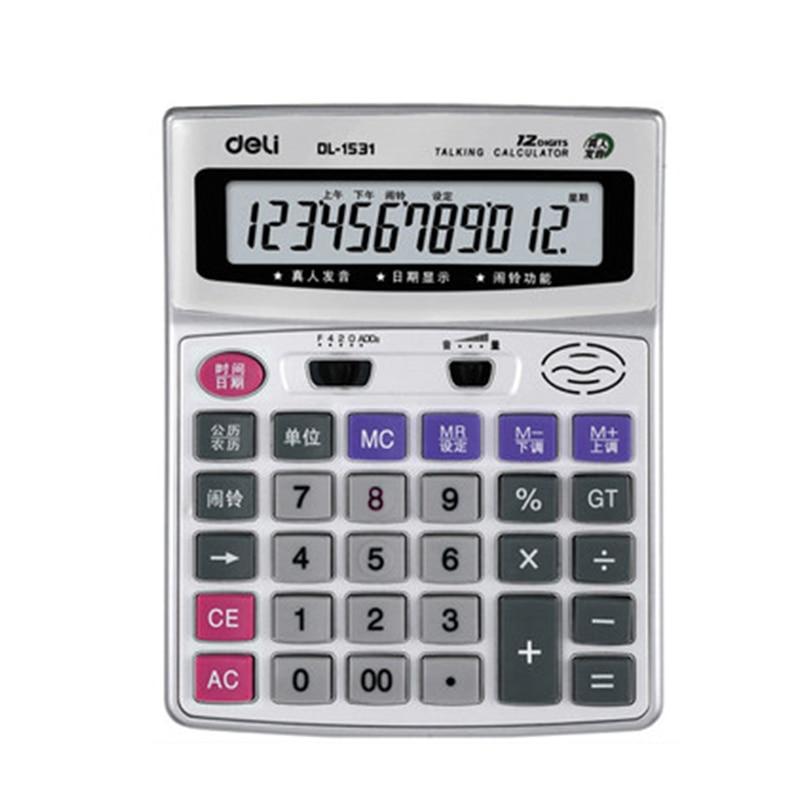 deli 1531 escritorio calculadora comercial pronuncia calculadora de voz eficaz tela grande ao vivo 12 digitos