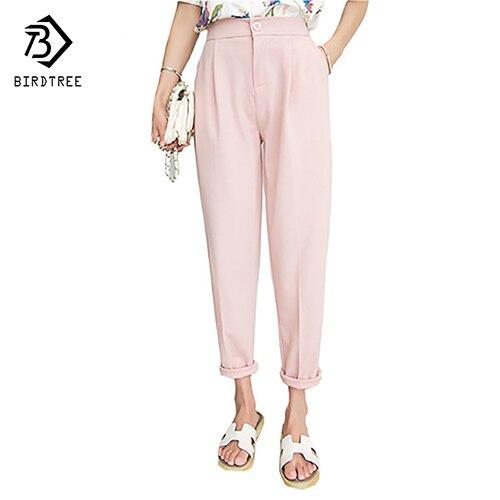 Verão Outono Estudantes Senhoras Harem Pants Punhos Cintura Alta Preta Rosa Fresco Magro Calças Plus Size XXXL 3XL B67223R
