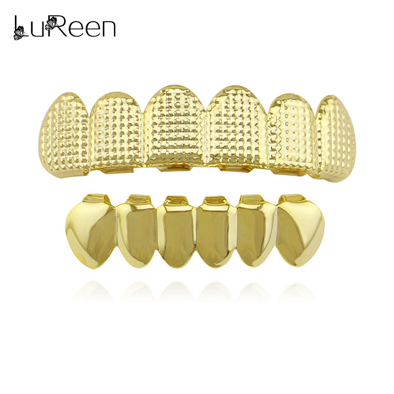 LuReen Hip Hop Gold Teeth Grillz Top & Bottom Lattice Shape Grills Dental Cosplay Teeth Caps Tooth Grill  Mouth Jewelry Party
