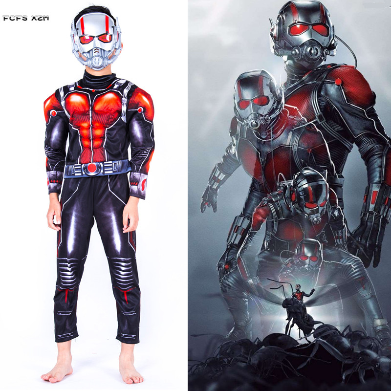 S L Boys Halloween Ant Man Costumes kid Children The Avengers Ant Man Movie Cosplay Carnival Purim parade Masquerade party dress