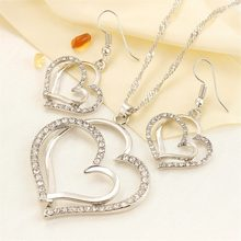 Romantic Women Jewelry Sets 925 Sterling Silver Crystal Necklace Earrings Doubled Love Heart Necklace&Earrings Jewelry Set(China)