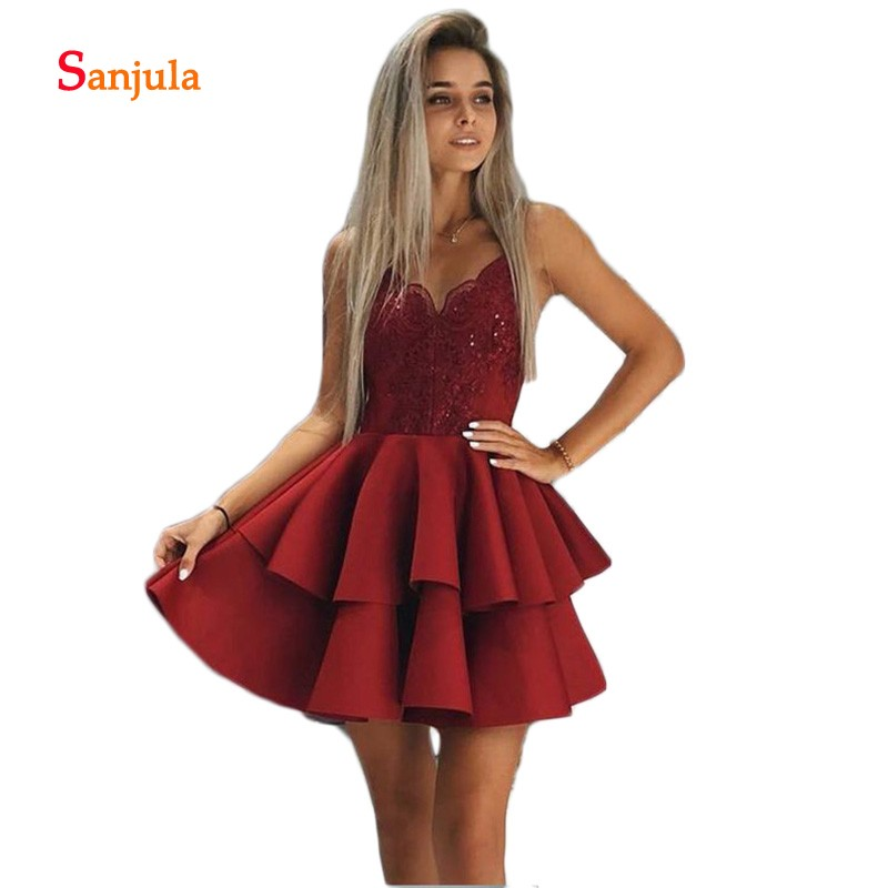 Spaghetti Straps Junior Party Dresses Tieres Skirt Above Knee Dark Red Homecoming Dresses Lace Appliques Cocktail Gowns D862