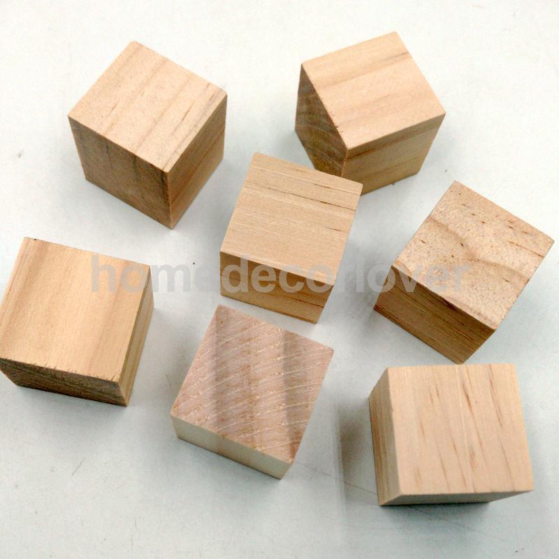 20Pcs Natural Wooden Squre Cubes Wood Block Embellishment for Kids Craft Card Making 20mm