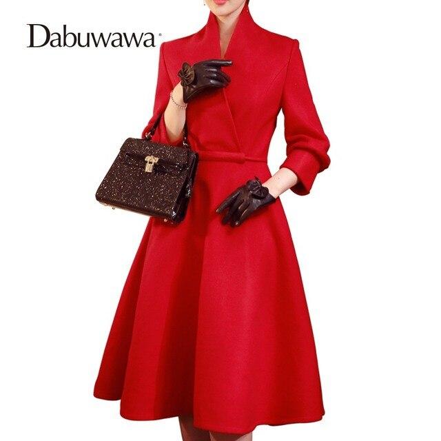 1c2bedcda6 Dabuwawa marka jesień zima wełniane kobiety sukienka Vestido rocznika  eleganckie sukienki dla pracy linii sukienka z