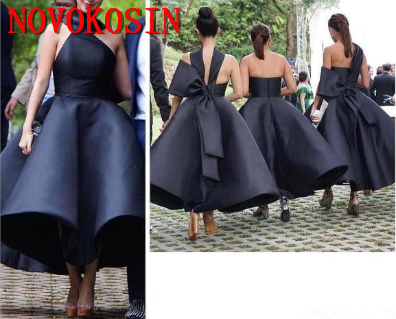 2019 New Arrival Sexy Ball Gown Ruffles   Cocktail     Dress   High Neck Sleeveless Big Bow Back Prom Gowns Party Tea Length
