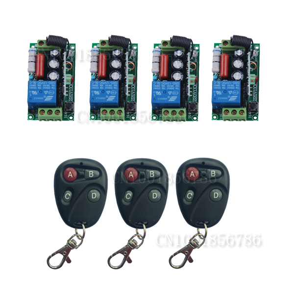 220V Wireless Remote Control Switch System RF 4 Receivers+3Transmitter For LED Light Lamp FreeShipping 220v wireless remote control switch system rf 4 receivers 3transmitter for led light lamp freeshipping