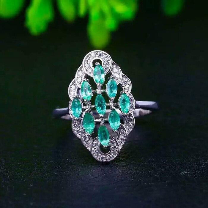 YBJ 925 stříbro vykládané přírodní smaragdový prsten ženy