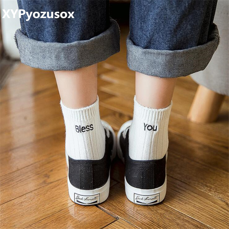 Cute Knitted Striped Letter Patterned   Socks   Women Fashion Winter Warm   Socks   Cool Funny Art   Socks   Hipster Sporty Sox Bless You