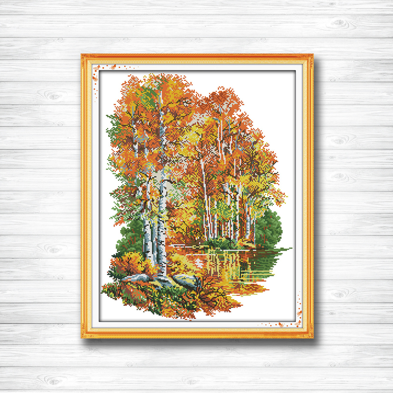 Home & Garden In The Autumn Of Birches Scenery River Painting Dmc 14ct 11ct Counted Cross Stitch Needlework Set Embroidery Kits Home Decor Pleasant In After-Taste Package