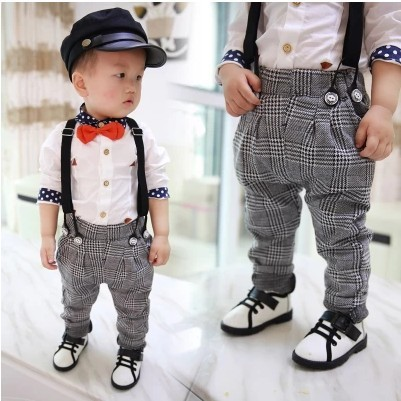 U-WARDROBE Spring Childrens Plaid Casual Pants Boy British Wind Pants Boys Trousers.