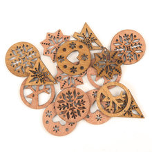 Wooden Christmas Tree Snowflake Deer Heart Pattern Scrapbooking Craft Handmade Accessory Home Decoration DIY 30mm 10pcs MZ194(China)