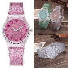 Women Watches Lovely Silicone Transparent Plastic Unique Ladies Girls Dress Quartz Wrist Watch reloj mujer zegarek damski 2019