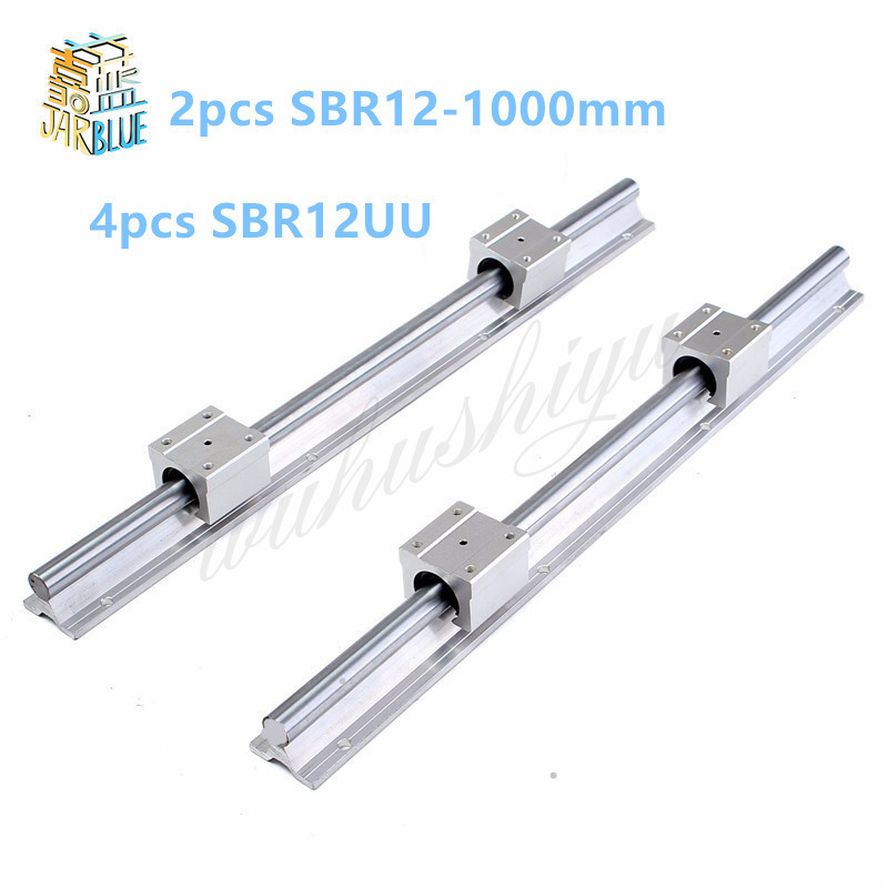 12mm linear rail SBR12 1000mm 2 pcs and 4 pcs SBR12UU linear bearing blocks for cnc parts 12mm linear guide free shipping 2 pcs linear guide sbr12 l linear rail shaft support and 4 pcs sbr12uu linear bearing blocks for cnc parts