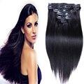 Ruifa Remy brasileiro virgem do cabelo reta Clip em extensões de cabelo humano 7 pçs/set 16 '' - 26 '' Remy Clip In extensões do cabelo 70 g - 220 g