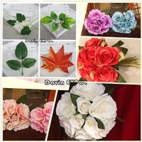 New 50Pcs Artificial Decorative Silk Rose Flowers Fake Leaf Leaves Bouquet Garland Wedding Decor Home DIY Decoration Flower