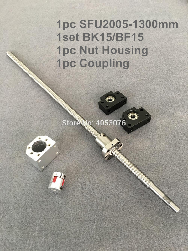 SFU / RM 2005-1300mm ballscrew with end machined+ 2005 Ball nut + BK/BF15 End support +Nut Housing+Coupling for CNC parts