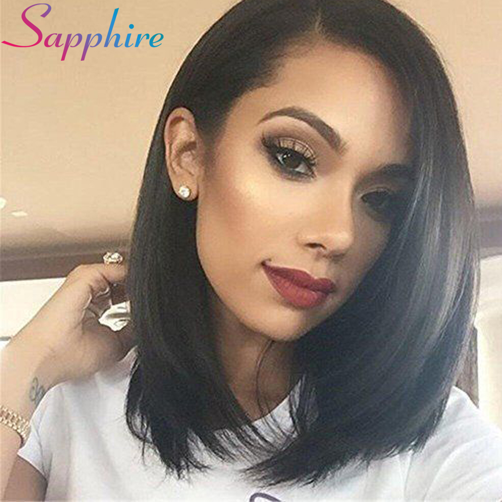 Sapphire Lace Front Human Hair Wigs For Black Women Brazilian Non Remy Hair Straight Lace Wigs With Baby Hair for Black Women ...