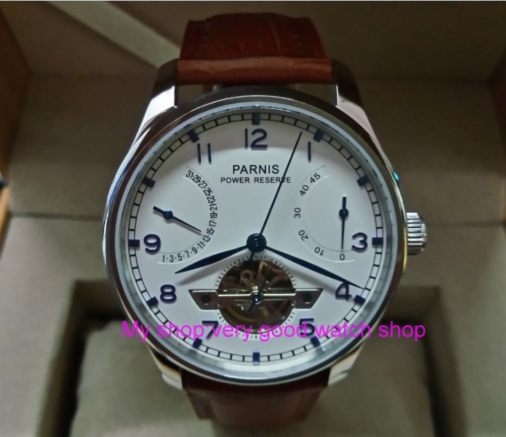 43MM PARNIS <font><b>ST2530</b></font> Automatic Self-Wind movement white dial power reserve men's watch Mechanical watches GQ8 image
