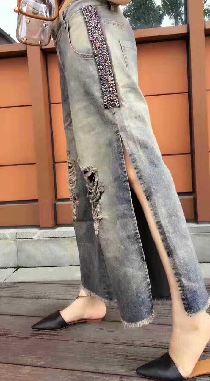 Nove Di Colore 2017 Wome Paillettes Pantaloni Al152 Estate Aprire Vecchio Nuove Forcella Punti Donne Abbigliamento Cowboy al154 La Del Larga Mendicante Fori Lavaggio Gamba t0tpTwfqx