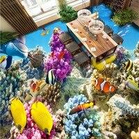 Ücretsiz Kargo HD 3d stereo mercan kayalığı tropikal balık banyo yatak odası zemin boyama duvar kağıdı kendinden yapışkanlı zemin duvar