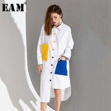 [EAM] 2017 sonbahar kış Moda Yeni Hit Renk Çift renkli wihte Cepler Gevşek Büyük Boy Uzun Gömlek Kadın gelgit T046