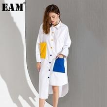 [Eam] 2017 الخريف الشتاء الأزياء الجديدة ضرب اللون جيوب مزدوجة ملونة wihte فضفاضة كبيرة الحجم طويلة قميص المرأة المد t046