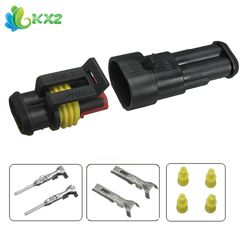 10sets! Car Part 2 Pin Way Sealed Waterproof Automotive Electrical Wire 2P Auto Connector Plug Set for Motorcyle Scooter Truck 10kit 282088 1 282106 1 ip67 4pin way super sealed waterproof electrical wire connector auto plug for car caravan marine jet