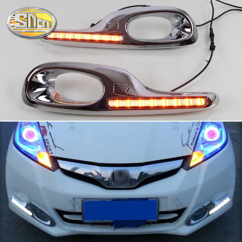 SNCN LED Daytime Running Light For Honda Fit Jazz 2011 2012 2013 Yellow Turn Signal Relay Waterproof 12V DRL Fog Lamp Decoration