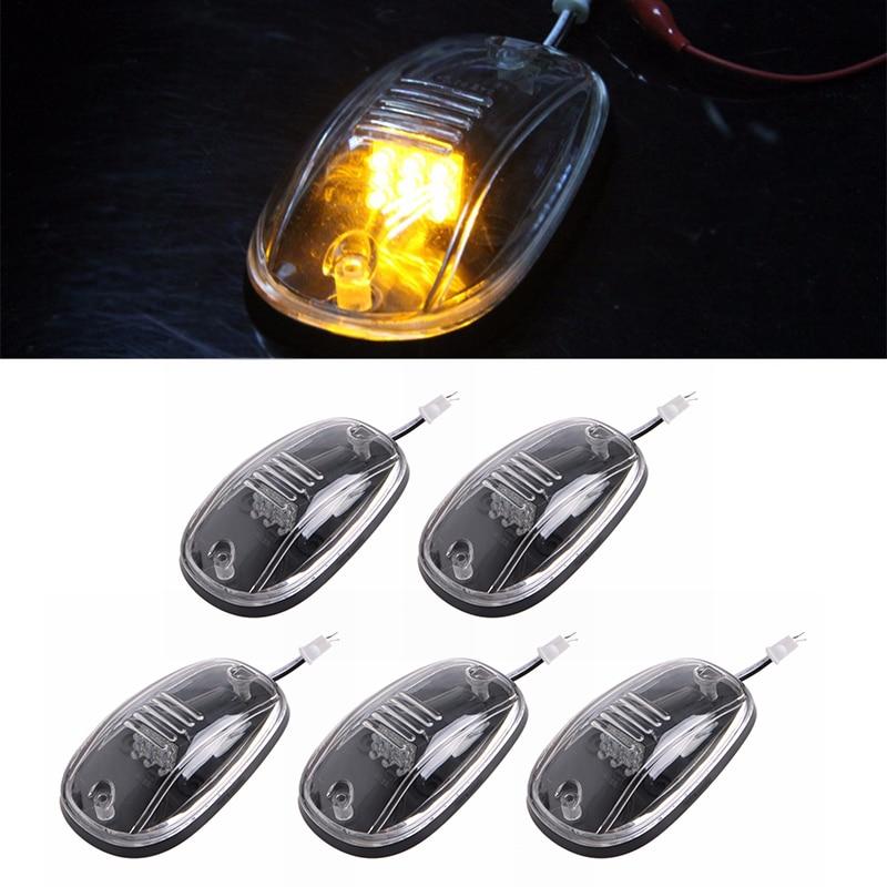 5 x Transparent Lens Cab Roof Running Amber 9-LED Marker Lights for 03-16 DODGE RAM Car Cab Roof Running Lights