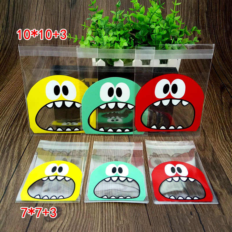 100Pcs Cute Big Teech Mouth Monster Plastic Bag Wedding Birthday Party Favors Cookie Candy Gift Self Adhesive Packaging Bags