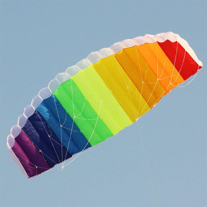 Rainbow Kite, Dual Line Stunt Parafoil Parachute Kite with 2pcs 30m Nylon Flying Line For Beginner Easy Play Control Handle Gift 16 colors x vented outdoor playing quad line stunt kite 4 lines beach flying sport kite with 25m line 2pcs handles