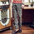 EARL JOEL high quality 2015 men brown plaid super slim Sanding warm business wedding groom suits long pants retro england style