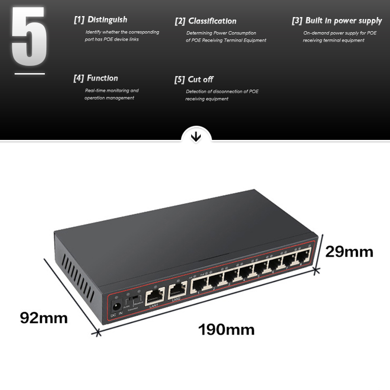 10-Port Poe Switch  48 V Power Over Ethernet Network Switch 802.3 AF / to for IP Camera / Wireless AP / CCTV Camera System 6