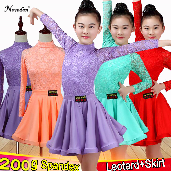 Girls Children Latin Dance Skirt Children Split Lace Dance Performance Test Competition Standard Dress