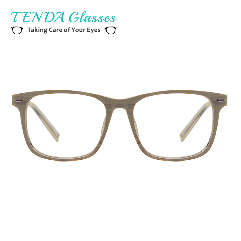 Män Acetat Trä Texture Prescription Glasses Square Bambu Spectacles För Optiska Linser