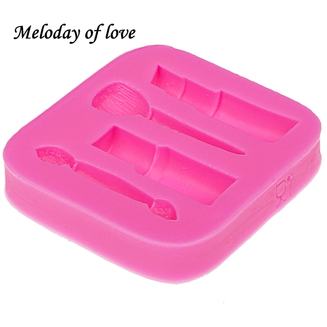 Makeup tools lipstick nail polish chocolate Party DIY fondant cake decorating tools silicone mold dessert moulds T0075 4