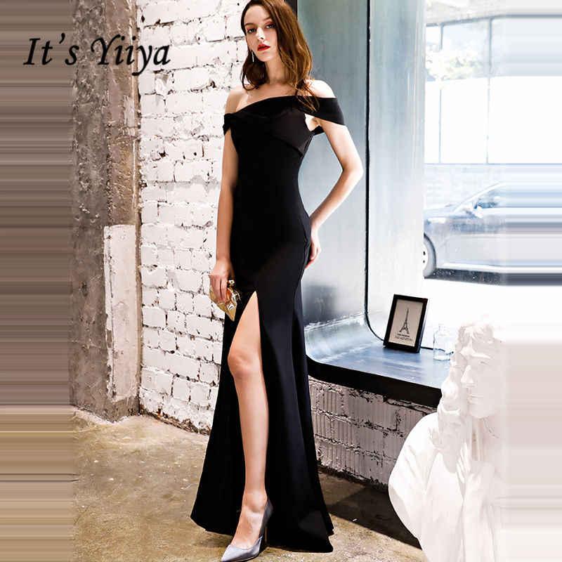 It s YiiYa Evening Dress 2018 Trumpet Split Boat Neck Black Simple Floor-length  Dinner Gowns 8154583b8dca