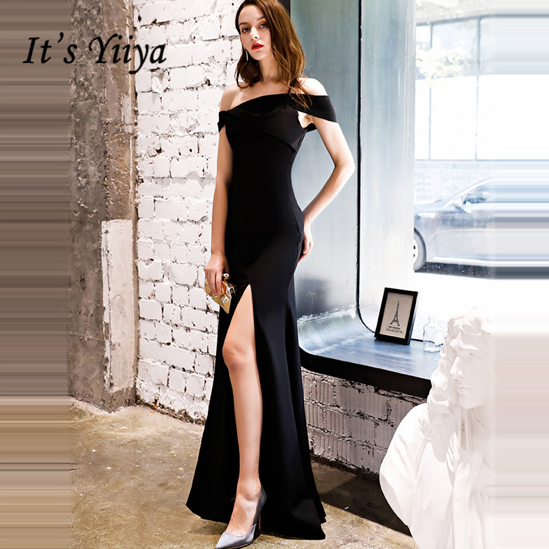 It's YiiYa Evening Dress 2018 Trumpet Split Boat Neck Black Simple Floor-length Dinner Gowns LX1306 robe de soiree