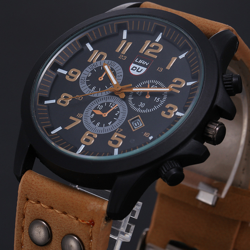 New 2017 Fashion Gold Quartz Watch Men Military Leather Strap Watches Luxury Brand Casual Relogio Masculino Wristwatches Brown цена и фото