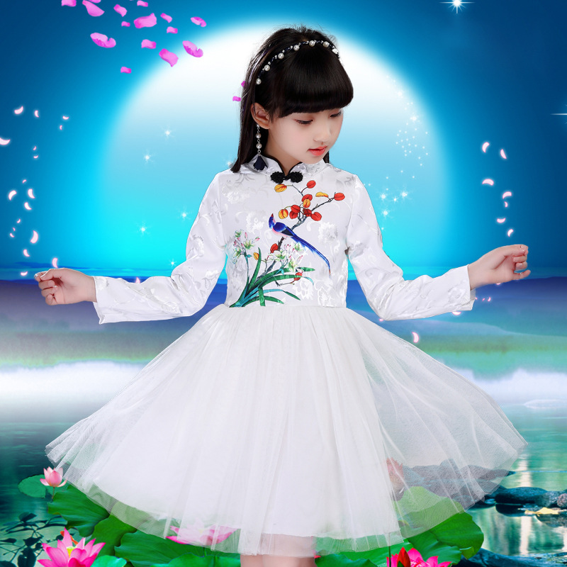 Girl Cheongsam Dress China Classic Kids Dress Long Sleeve Dress Costume Style Spring Autumn Children Clothing 4 6 8 10 12 year girl clothing dress 2018 chinese style autumn and winter high collar long sleeve printing thick warm cheongsam children s dress
