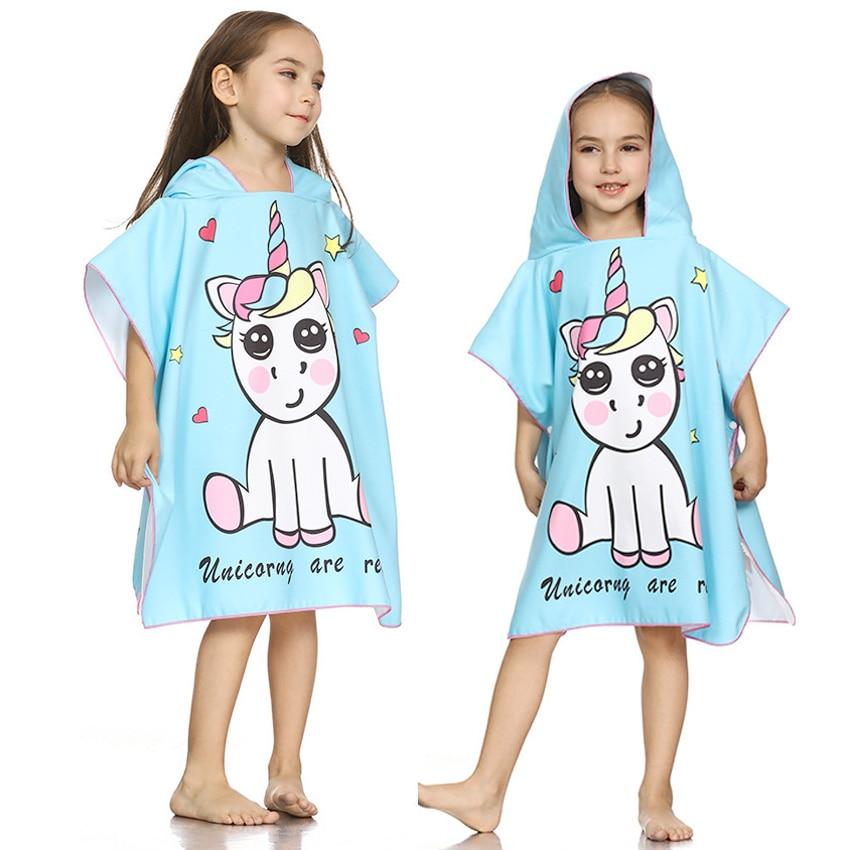 Alarm Eenhoorn Kids Badjas Hooded Badhanddoek Sneldrogende Cartoon Flamingo Print Kan Dragen Douche Handdoeken Zwemmen Strand Toalla De Playa