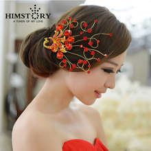 Free Shipping New Fashion Red Rhinestone Peacock Wedding Hair Accessories Comb Style Bridal Jewelry