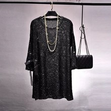 купить Long Sleeve Black Dress Sexy  Club Women Knit Side Slit Hollow Out Bling Sequin Dress Casual Loose Mini Party Dresses Vestido дешево