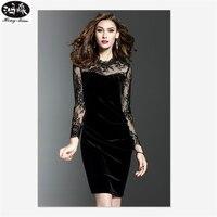 2017 Summer Sexy Dress Nightclub Style Large Size Women Round Neck Dress High Waist Lace Stitching