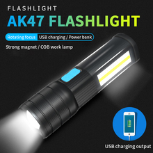 USB Rechargeable Rotating Focus Zoomable LED T6 Handheld Flashlight With Red Blue White COB Work Lights Magnet